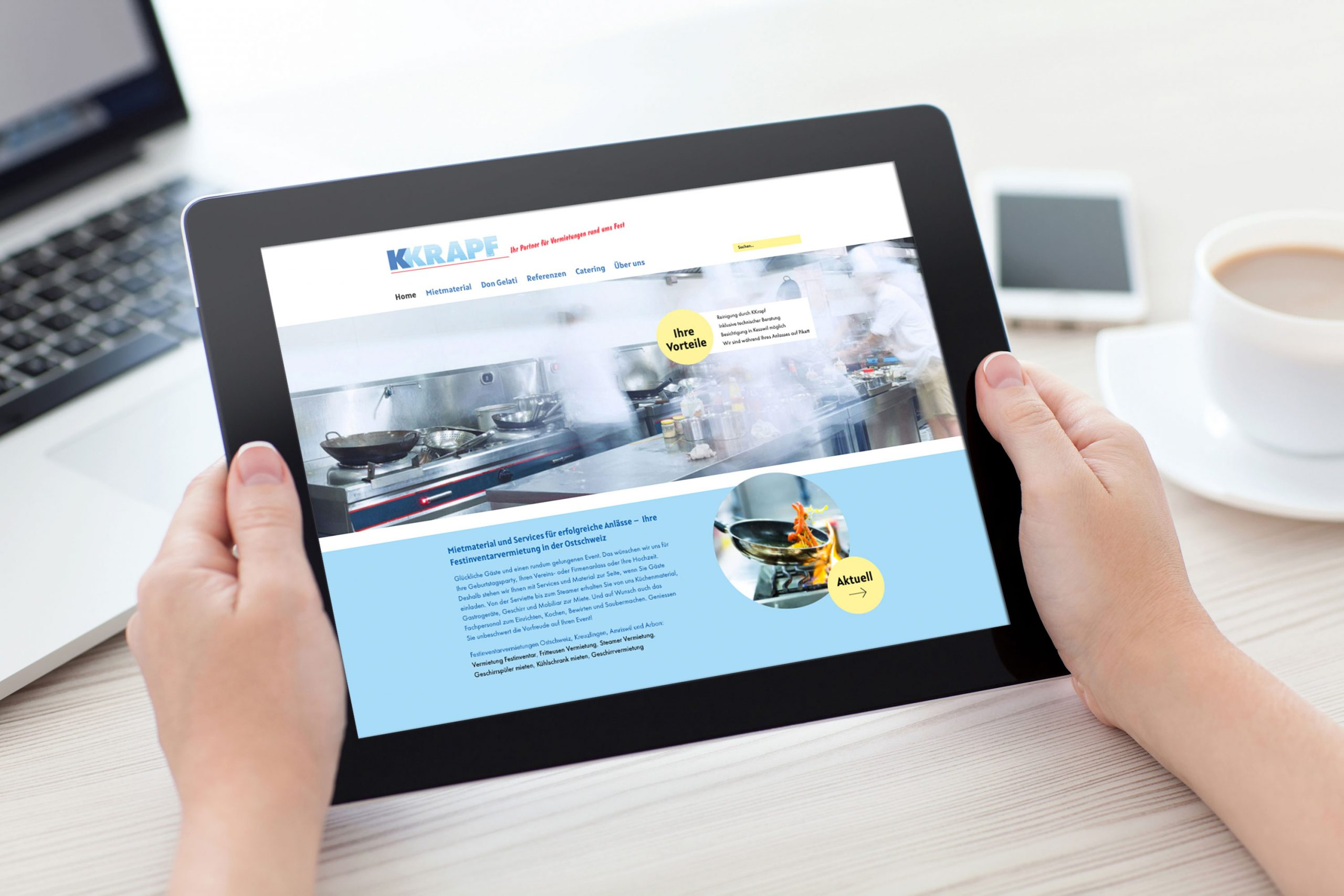 Website kkrapf.ch auf Tablet