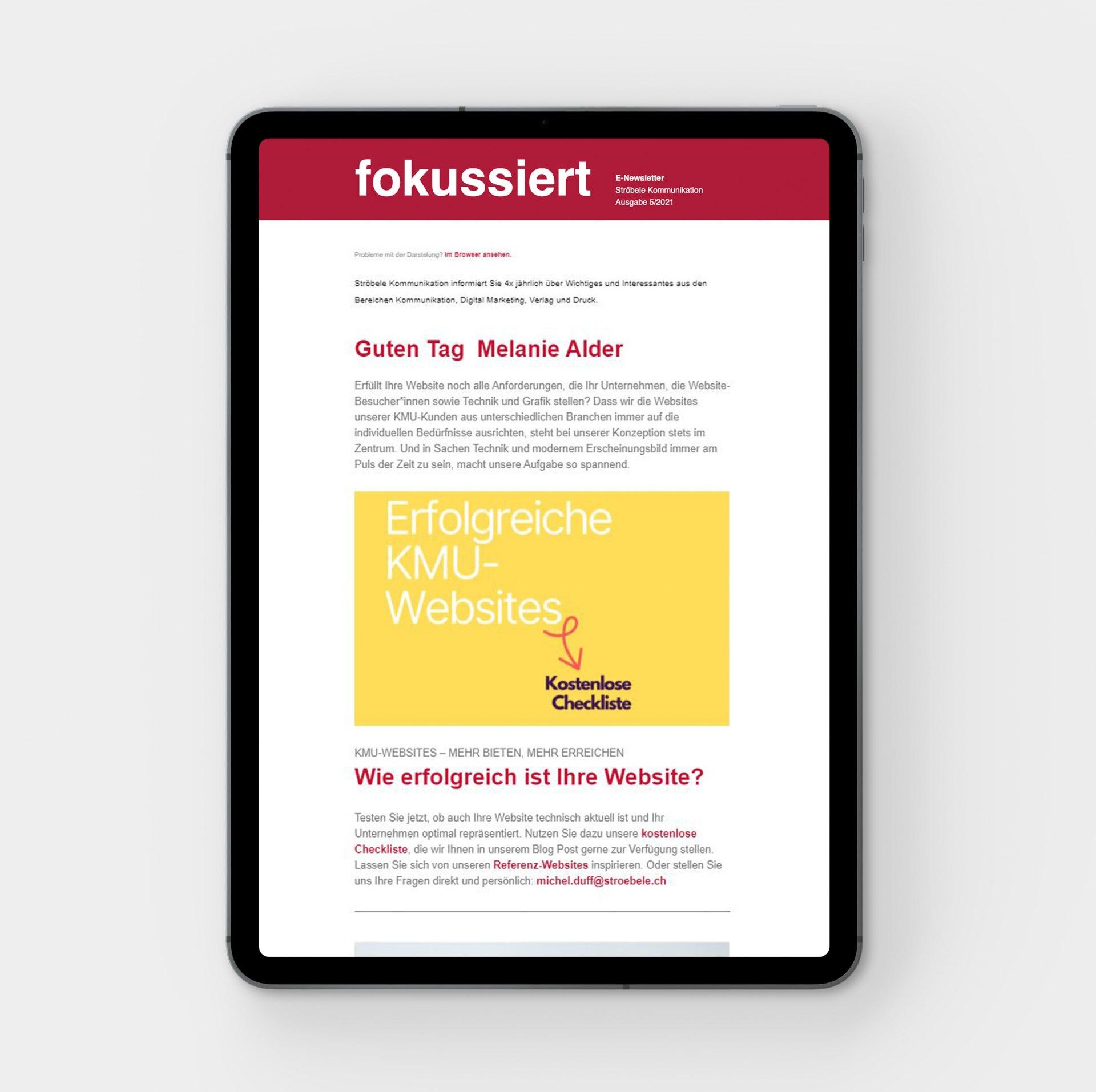 Tablet-Ansicht: Erfolgreiche KMU-Websites